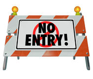 No Entry Barricade Access Road Construction Sign Barrier Stock Photos