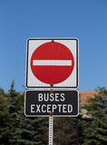 No Entry Buses Excepted Sign Stock Images