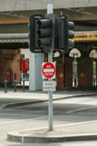 No Entry, Buses Excepted signs in Flinders Street, Melbourne stock photos