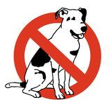 No entry dogs. Prohibition of dog. Strict ban on walking the dog, forbidden. Stop animals. Vector black and white sitting dog, white background, isolated Stock Photos