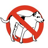 No entry dogs. Prohibition of dog. Strict ban on walking the dog, forbidden. stock illustration