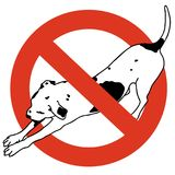 No entry dogs. Prohibition of dog. Strict ban on walking the dog, forbidden. royalty free illustration
