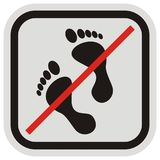 No entry, foot, mark in gray and black frame Royalty Free Stock Photos