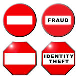 No entry fraud identity theft symbol. An image showing a no entry or no admittance red sign, on a white background with fraud or identity theft in the small vector illustration