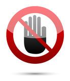No entry hand sign on white Royalty Free Stock Photo
