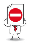 No entry. John Doe holds a sheet of paper on which is drawn a no entry sign. The entry is prohibited royalty free illustration