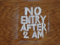 No Entry After 2AM Stock Images