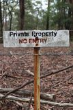 No Entry private property sign in red, black and white sign in portrait royalty free stock image