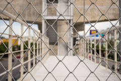 No Entry. Shallow depth of field close-up of chain link fence Stock Images
