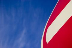 No Entry sign. Fragment of No Entry sign on blue sky with copy space Stock Photography