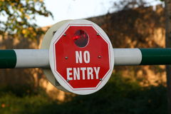 No Entry Sign. A No Entry Sign On A Security Barrier Royalty Free Stock Photo