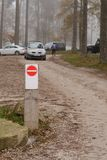 No entry sign. On the parking lot in forest Royalty Free Stock Photos