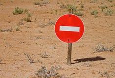 No entry sign. In the desert stock photos