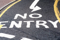 No entry sign. White painted no entry raod sign Royalty Free Stock Photography
