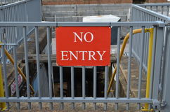No entry sign. Attached to a metal barrier Royalty Free Stock Photos