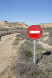 No Entry Sign in Bardenas Reales Park, Navarre Royalty Free Stock Photography
