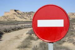 No Entry Sign in Bardenas Reales Park, Navarre Royalty Free Stock Images