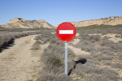 No Entry Sign in Bardenas Reales Park, Navarre Royalty Free Stock Photo