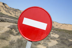 No Entry Sign in Bardenas Reales Park, Navarre Stock Image