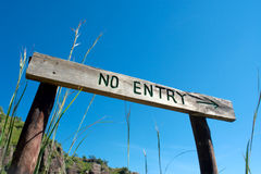 'No entry' sign board on trail Stock Image