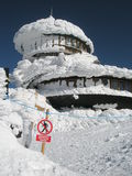 No entry sign ! Building under snow Stock Photos