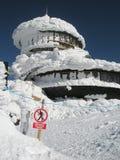 No entry sign ! Building under snow stock photos