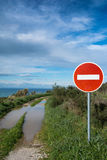No entry sign on dirt road Royalty Free Stock Photos
