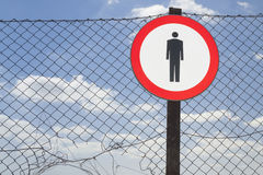 No Entry Sign on a Fence Royalty Free Stock Image