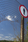 No Entry Sign on a Fence Royalty Free Stock Photography