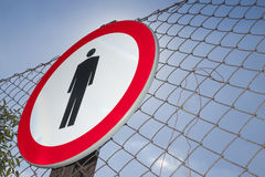 No Entry Sign on a Fence Royalty Free Stock Photo