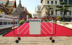 No entry sign in front of a red carpet Stock Photos