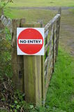 No entry sign on gate. Stock Image
