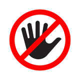 No entry sign icon with a crossed-out hand Stock Images