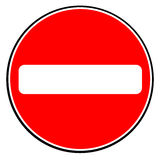 No Entry Sign. A large round red traffic no entry sign over white royalty free illustration