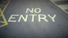 A no entry sign painted on a road in the United Kingdom Stock Images