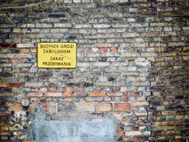 No entry sign in Poland on old brick wall Stock Photos