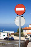 No entry sign. Road traffic barrier means no access Royalty Free Stock Photos