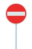 No Entry Sign, road traffic warning pole, isolated Stock Photo