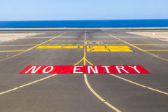 No entry sign at the runway Stock Images