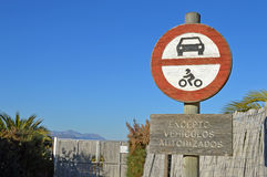 No Entry Sign - Wooden Road Sign With Car And Bike Royalty Free Stock Photo