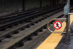 No entry sign in the subway. A ban sign for pedestrians in the subway of Genoa Royalty Free Stock Photo