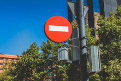 No entry sign for vehicular traffic in the city center. VALENCIA, SPAIN - June 18, 2017 : No entry sign for vehicular traffic in the city center on a summer day Royalty Free Stock Image