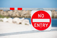 No Entry sign warning on gate property Stock Photo