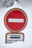 No Entry Sign Winter Royalty Free Stock Photo
