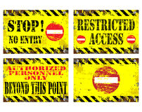 No Entry Signs. Grungy metal sign illustrations. Stop, no entry, restricted access vector illustration