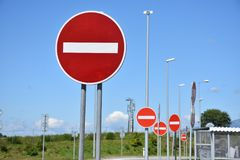 No entry signs. On blue sky, stop sign for one way street Royalty Free Stock Photos