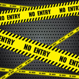 No entry sing with aluminum metal background. Steel background with circle perforated texture background. Vector sing on black and grey background Royalty Free Stock Photos