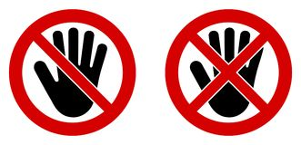 No entry symbol. Black hand icon in crossed and doublecrossed re royalty free illustration