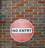 No Entry traffic sing. On the old brick wall Stock Photography