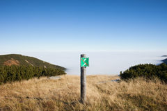 No Entry Warning Sign on Mountain Meadow Royalty Free Stock Photo